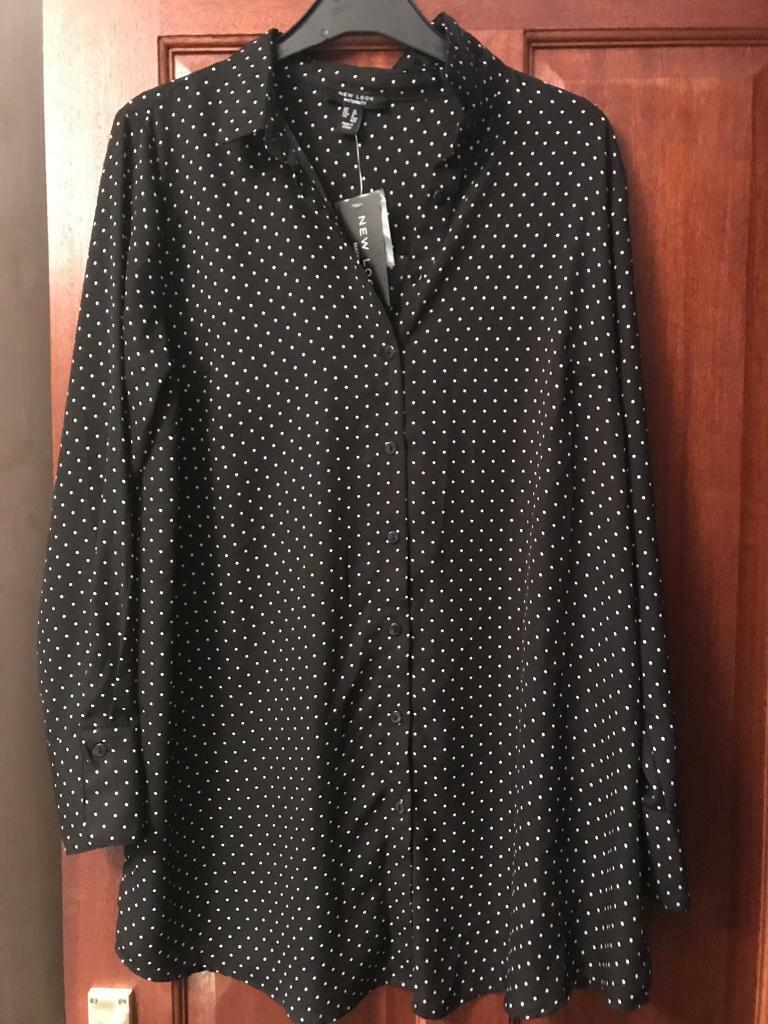 6f6768ea1a6 Black and white polka dot maternity shirt