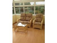 Conservatory Quality Furniture - Sofa, Chair, Glass Table - Half Price Bargain