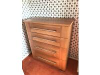 5 piece bedroom furniture, 2 wardrobes, 2 small chests, 1 large chest.