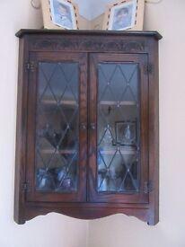 Solid oak wall mounted corner cabinet
