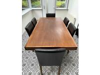 Dark Oak Dining Table and 6 matching chairs