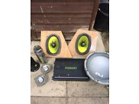 Car amp and speakers with 1000watt sub for sale for £30.00