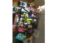Box of Job lot car boot items, including digital camera, books, camera, rangemax router, some new