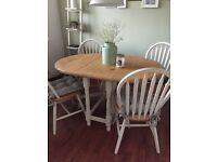 Wood dining table painted in Annie Sloan Old Ochre chalk paint, table can seat 4-6, drop Leaf.