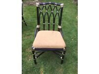 6 black painted cane and upholstery chairs