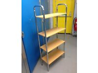 PRE-OWNED FLOOR STANDING CHROME AND WOOD SHELVING UNIT/BOOK STAND