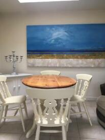 Solid pine oval table and four chairs