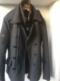 Mens Superdry Grey Wool Pea Coat Small Military Wool Double Breasted Zip Peacoat