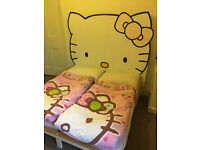 Hello Kitty Childrens / Kids Small Double Bed (cot size mattress) good for twins or sleep overs!