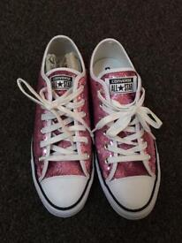BRAND NEW pink sequin converse UK 7