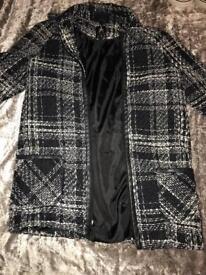 Used women's UK size 8 Primark Black and white tartan tweed style coat £5