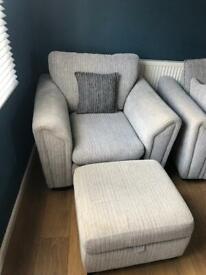 DFS Gabriel sofa, chair & foot stool