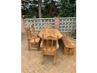 Dining table, bench and chairs