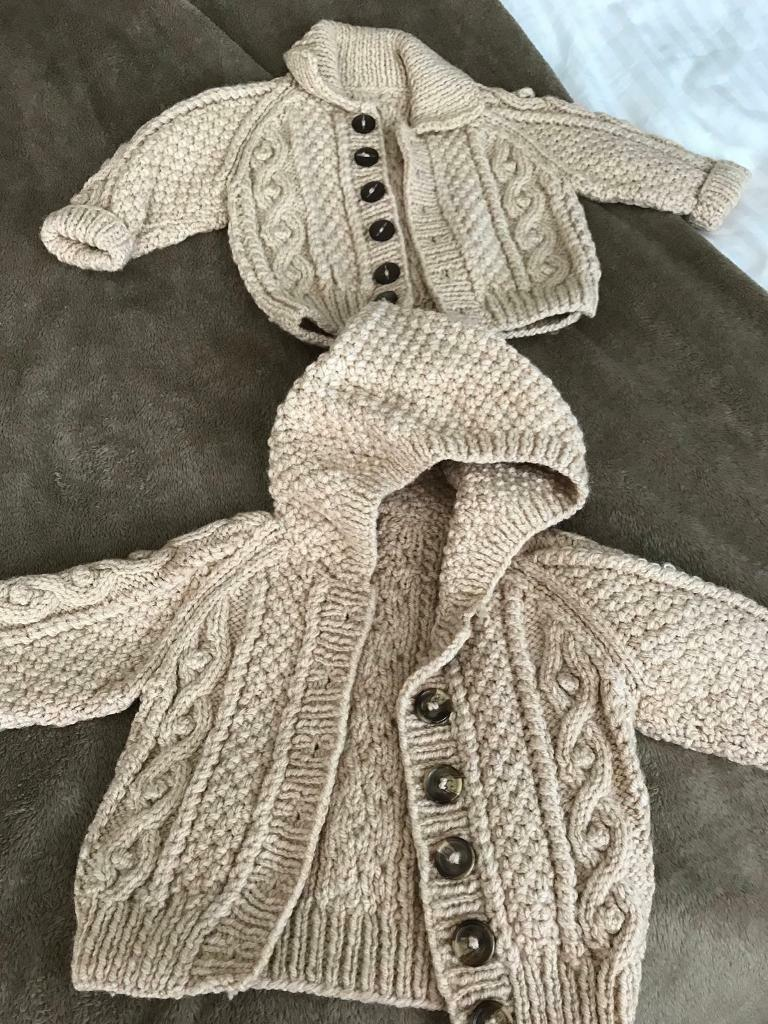 Babies knitted cardigans lovely condition hardly worn 3-6months