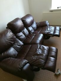 Italian Leather Brown 3 Seater Recliner Settee and Electric Recliner Chair