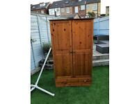 Solid pine fronted wardrobe