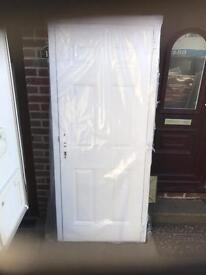 Solid white composite rock door