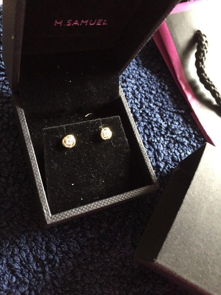 H Samuel Gold Diamond Earrings
