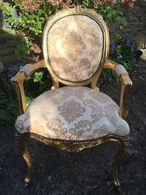 Rococo Shabby Chic Gold & Damask Material Chair .