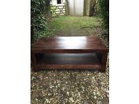 Dark wood modern coffee table