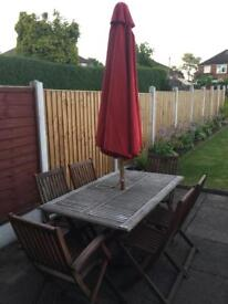 FSC Wooden 6 Seat Garden Table With Cushion And Parasol Used