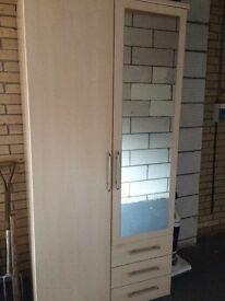 2 Door Beech Wardrobe with Mirror & Drawers