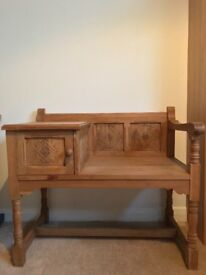 Country style telephone table with chair