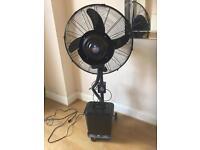 Fan with water mist