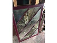 Unusual wood-framed mirror with inset feathers!