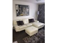 Dfs White Leather 3 Seater Sofa and Poufee