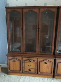 Display cabinets with wood effect with glass doors approx 6' tall. Must be gone by 30th Jan.