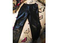Genuine leather ladies biker trousers