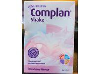 Nutricia COMPLAN shake 4 Sachet Boxes Strawberry Flavour BNIB.
