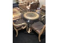 Italian solid wood glass top table & 7 chairs rrp £4,000