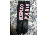 KENZO gloves real leather silk inside size XS