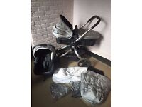 Mothercare Spin Travel system with Rain covers, footmuff, carseat