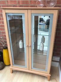 Beech/glass cabinet & lamp table - set