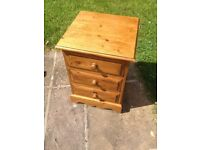 Pine bedside table / chest of drawers.