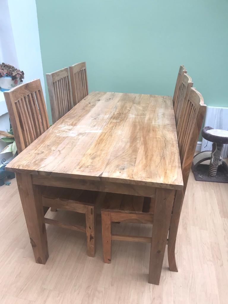 Solid wood dining table and 6 chairs OFFERS!!!