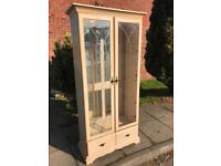 Tall Beech Display Cabinet - Free Delivery