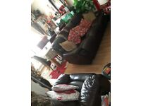 Brown Leather Recliner Sofa 3+1 seater