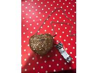 Bank gold sequin heart bag