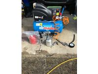 CLARKAIR COMPRESSOR WITH SPRAY GUN, TYRE GAUGE. GREAS GUN AND BLOWER