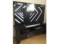 Black ash effect two drawer TV unit