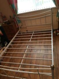 Double bed frame (metal) with mattress