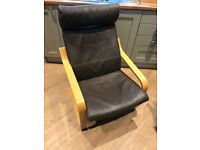 IKEA Poang Oak Frame Brown Leather Cover
