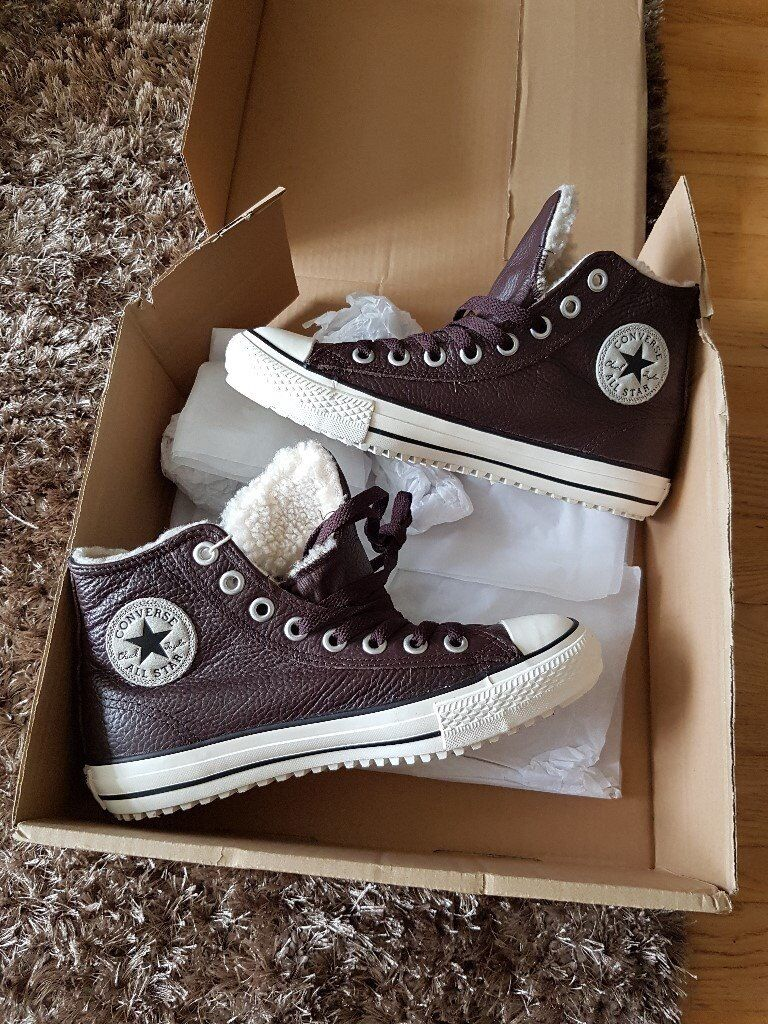 bfc6f164af92dd Converse All Star Hi Tops Shearling - Brown leather - NEW with labels -  size 8 - £25