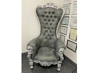 Throne style Armchair charcoal grey leather with silver frame