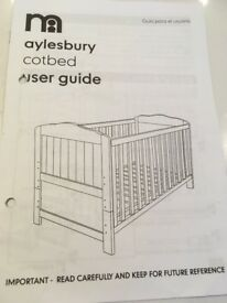 Aylesbury Cotbed from MotherCare -frame and mattress and instructions and screws