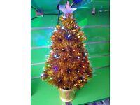 2ft Christmas Xmas Fibre Optic Led Tree Decoration Golden Ornaments Lights 60cm Star Flashing